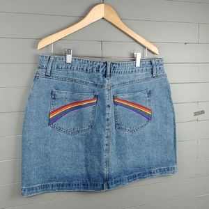 Forever 21 Denim Skirt Rainbow Embroidered